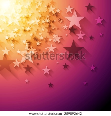 Bright stars abstract background. Vector design - stock vector
