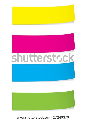 Bright sticky notes with shadows