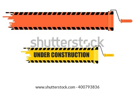 Bright stripe painted on a wall paint roller.Conceptual image of  tools for repair and builder.Warning sign under construction.Cartoon flat vector illustration.Objects isolated on a white background.  - stock vector