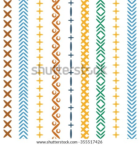 Bright striped seamless pattern with the image of the seams, stitches, embroidery for hippie, boho, ethnic and denim style. Modern design, best for prints on textiles and paper. - stock vector