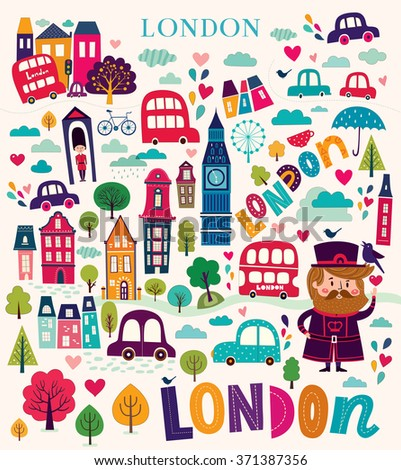 Bright stylish vector illustration with London symbols and landmarks. Pattern with London landmarks in cartoon style - stock vector