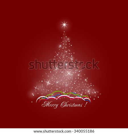 Bright Stylized Christmas Tree of Lights on Red Background , Colorful Snow Drifts, Merry Christmas,  Vector Illustration - stock vector