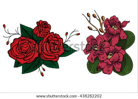 Bright summer flowers on a white background, hand drawing,set - stock vector