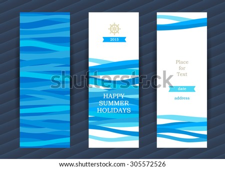 Bright Summer Holidays cards with sea elements. Sea pattern with waves. Place for your text. Template frame design for banner, placard, invitation. Blue vector background. - stock vector