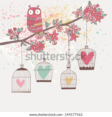 Bright summer illustration with owl, branch and cages in vector. Romantic cartoon background in pastel colors - stock vector