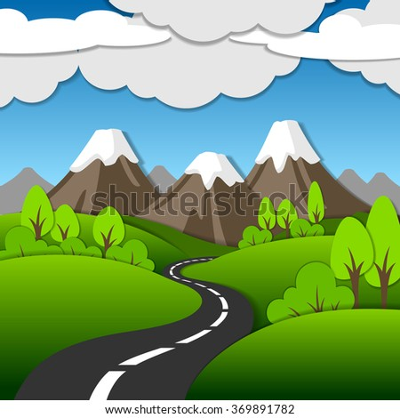 Bright summer mountain cartoon landscape in a flat style - stock vector