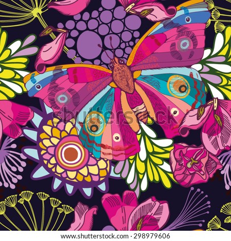 Bright summer pattern of butterflies and flowers - stock vector