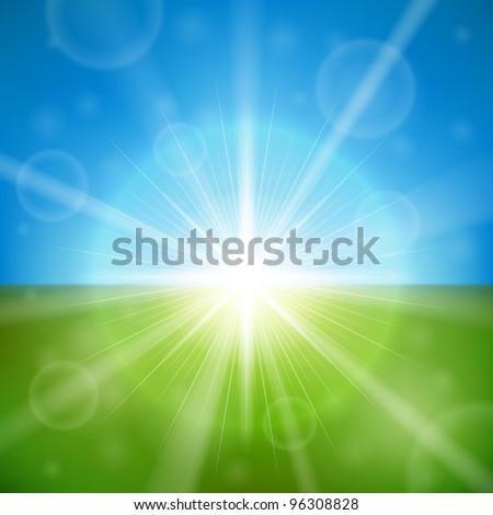 Bright summer sun vector background. - stock vector