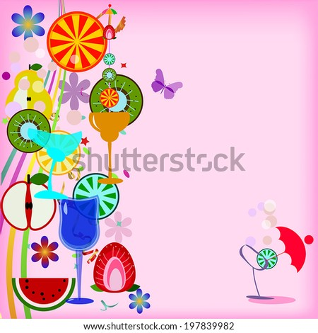 bright summer vector background with fruits - stock vector