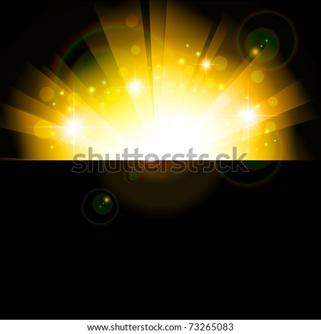 bright sun in the night, copyspace - stock vector