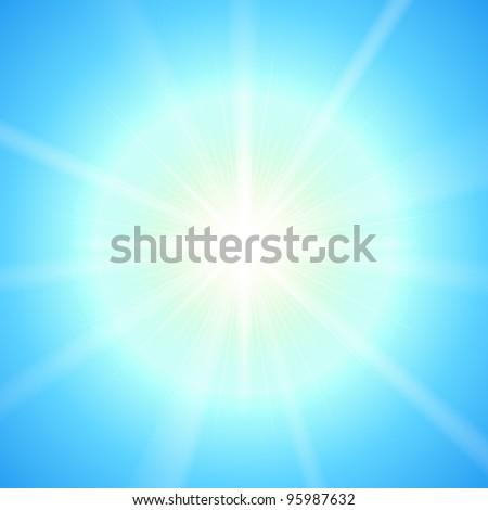 Bright sun vector template. - stock vector