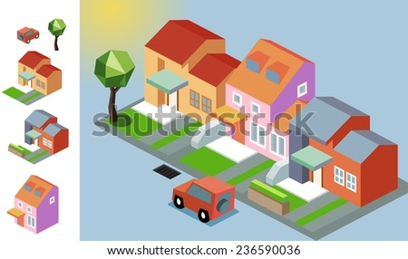 Bright sunny isometric village. vector illustration - stock vector