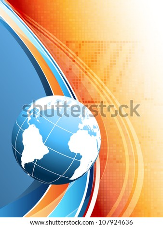 bright technologies vector with globe and copy space. eps10 - stock vector