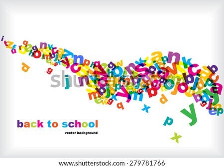 bright transparent alphabet letters - stock vector