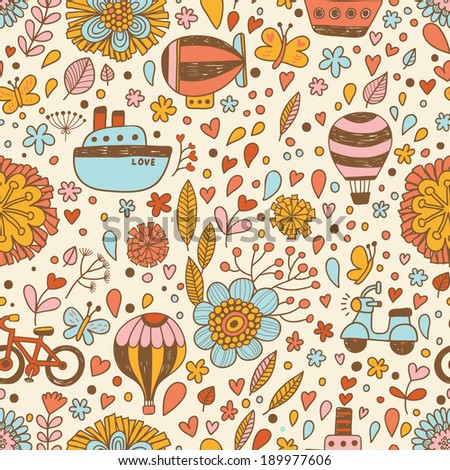 Bright transport concept seamless pattern in vector. Airship, ship, bicycle and air balloon in summer flowers.  - stock vector