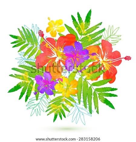 Bright tropical flowers vector summer bouquet - stock vector