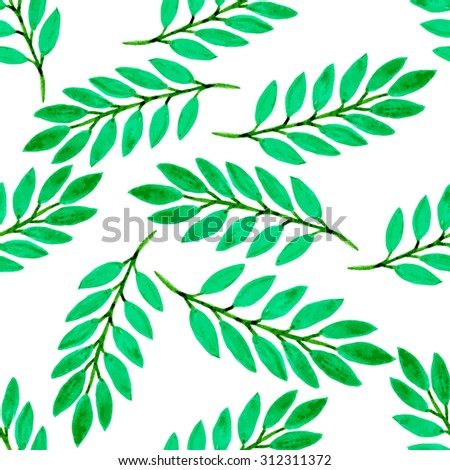 Bright tropical leaves watercolor seamless pattern. Vector texture with hand paint green branches