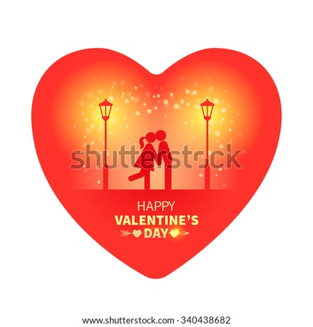 Bright Valentines Day card in the shape of a heart with kissing sweethearts and street light on the red background with falling snow - stock vector