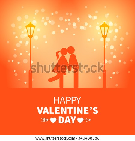 Bright Valentines Day card with kissing sweethearts and street light on the red background with falling snow - stock vector