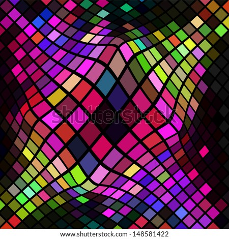 Bright vector background of distorted colorful tiles