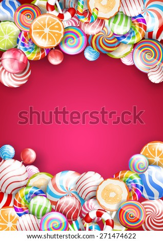 Bright vector background with candies and lollipops. Standart a4 paper size proportion - stock vector