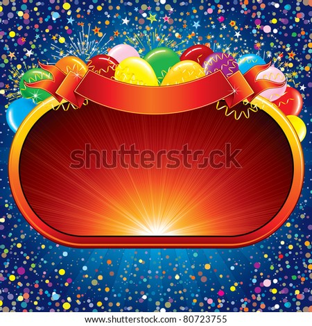 Bright Vector Background with Colorful Balloons and a Sign for your Congratulations Design. - stock vector