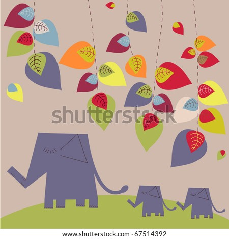 Bright vector background with elephants - stock vector