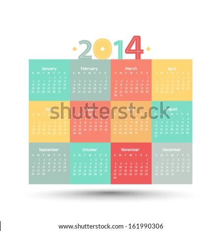 Bright vector calendar for 2014 year. Weeks begin on Sundays. - stock vector