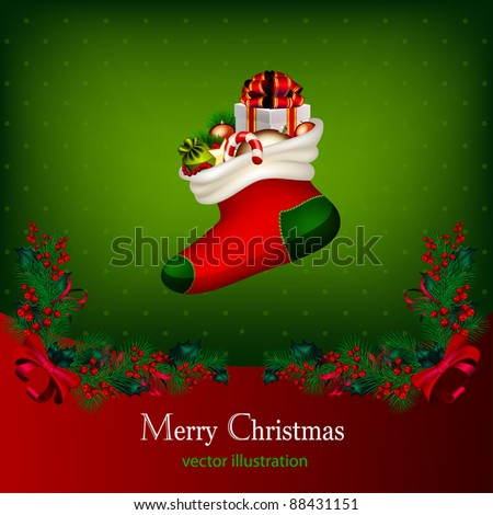 Bright vector Christmas background with garland from fir-tree branches and gifts - stock vector