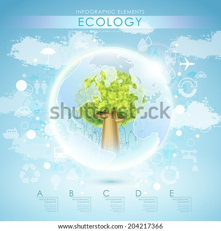 bright vector ecology template with tree and earth elements - stock vector