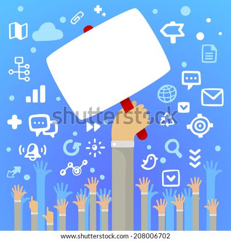 Bright vector illustration man's hand holding a large empty white board above a lot of people's hands on a blue background with different application icons - stock vector