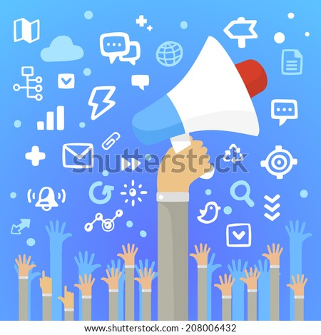 Bright vector illustration man's hand holding a large white loudspeaker above a lot of people's hands on a blue background with different application icons - stock vector