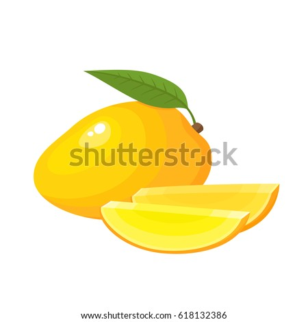Bright vector illustration of colorful slice and whole of mango. Fresh cartoon exotic fruits isolated on white background.