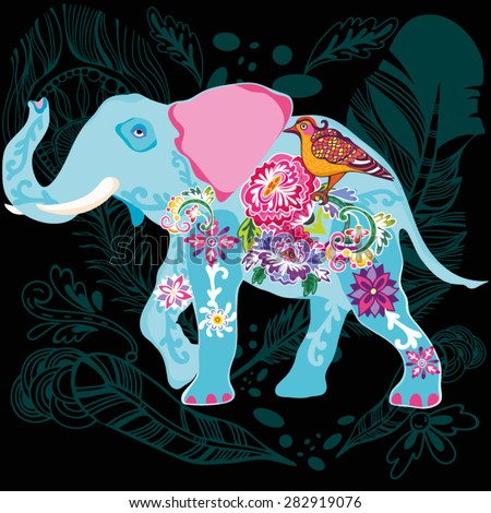 Bright Vector Illustration of elephant made of oriental ornament. - stock vector