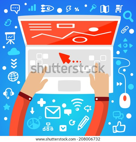 Bright vector illustration office workplace male hands on the keyboard of laptop on a blue background with different application icons - stock vector