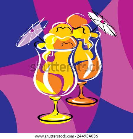 bright vector image of cocktails. stylized stained glass - stock vector