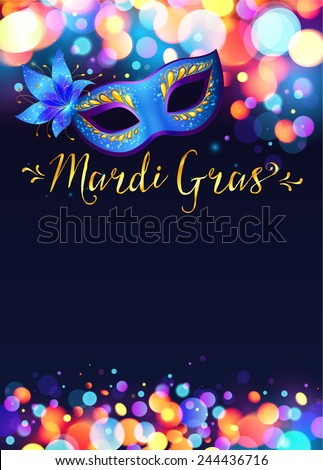 Bright vector Mardi Gras poster template with bokeh effect lights and blue carnival mask - stock vector