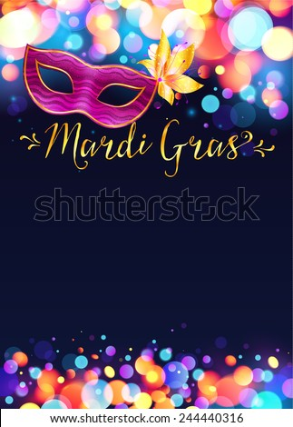 Bright vector Mardi Gras poster template with bokeh effect lights and pink carnival mask - stock vector