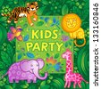 Bright vector pattern with jungle animals. Kids party design template. Template for invitation, greeting cards, poster, placard. - stock