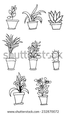Bright vector set of house plants in pots with an inscription. Illustration - stock vector