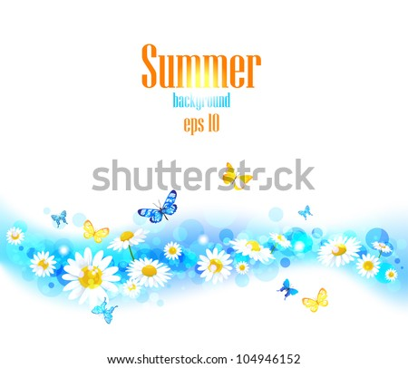 Bright  vector summer  background with space for text. - stock vector