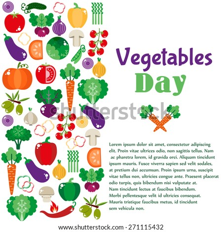 Bright vegetable set in flat style. Icons of vegetables. vector