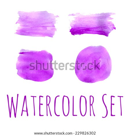 Bright violet watercolor set of vector backdrops for web isolated over white.  - stock vector