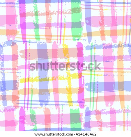 Bright  vivid hand drawn seamless pattern with  vertical and horizontal stripes. Fantasy multicolored background.Vector illustration.  - stock vector