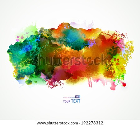 Bright watercolor stains. Green and orange - stock vector