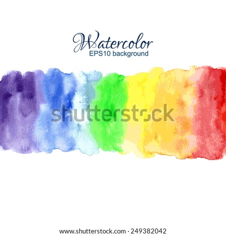 Bright watercolor stains rainbow