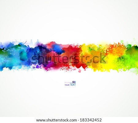 Bright watercolor stains. Rainbow blend. - stock vector