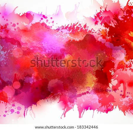Bright watercolor stains with red blots - stock vector