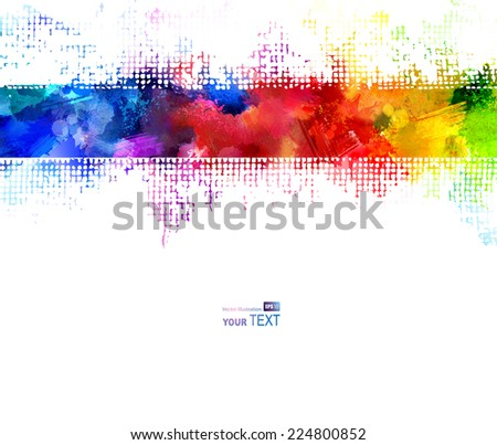 Bright watercolor strip. Rainbow stains  - stock vector