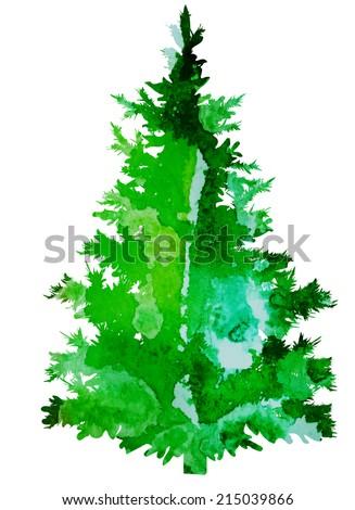 bright watercolor vector Christmas tree - stock vector